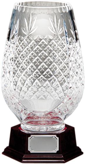 """3/4 Cut Crystal Vase on Piano Finish Base 30cm (11.75"""")"""