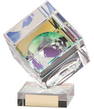 """Crystal Cube Football Glass Award 13cm (5"""")"""