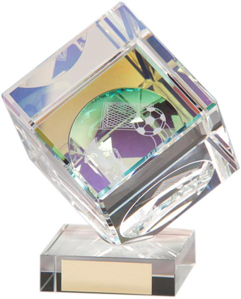 """Crystal Cube Football Glass Award 10.5cm (4"""")"""