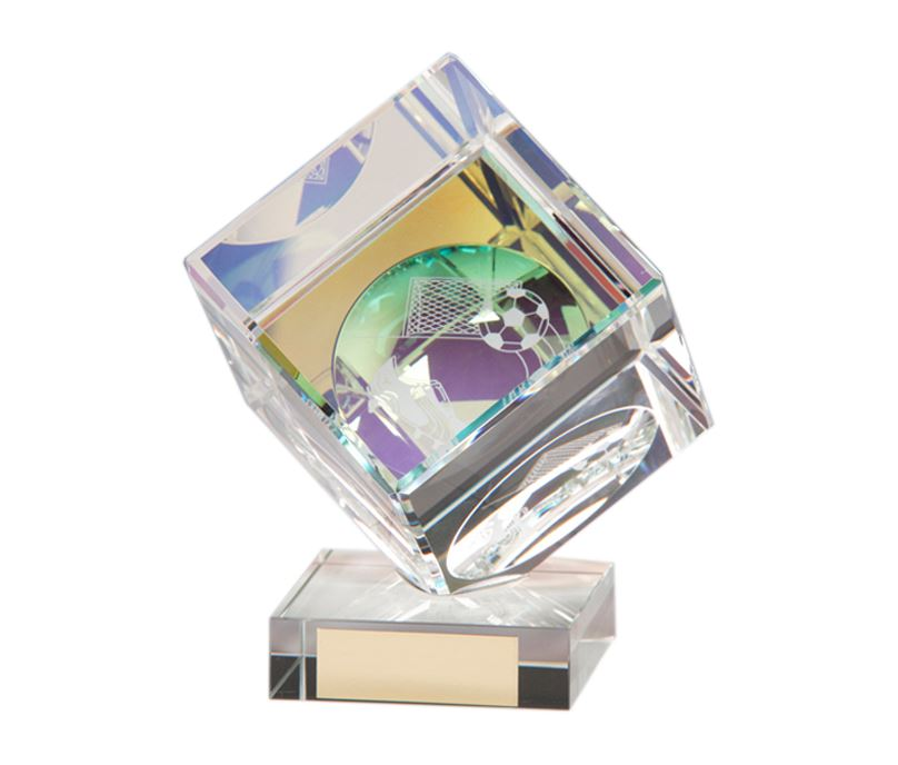 "Crystal Cube Football Glass Award 10.5cm (4"")"
