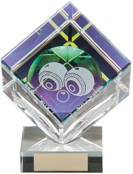 """Clear Crystal Cube Lawn Bowls Glass Award 15cm (6"""")"""