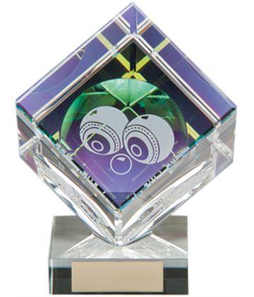 """Clear Crystal Cube Lawn Bowls Glass Award 11cm (4.25"""")"""