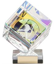 "Clear Crystal 3D Cube Golf Award 13cm (5"")"