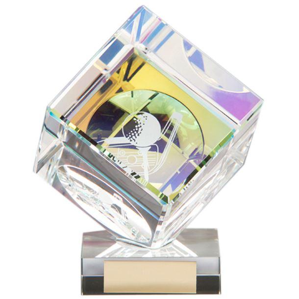 """Clear Crystal 3D Cube Golf Award 13cm (5"""")"""