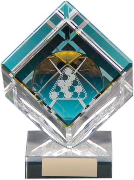 "Clear Crystal Cube Pool & Snooker Glass Award 10.5cm (4"")"