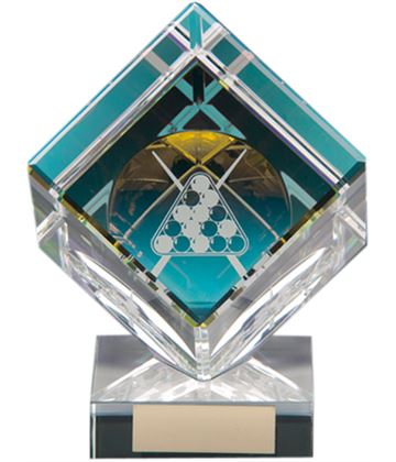 "Clear Crystal Cube Pool Glass Award 10.5cm (4"")"