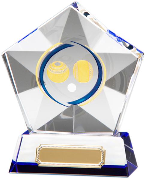 "Clear Diamond Star Lawn Bowls Glass Award 12cm (4.75"")"