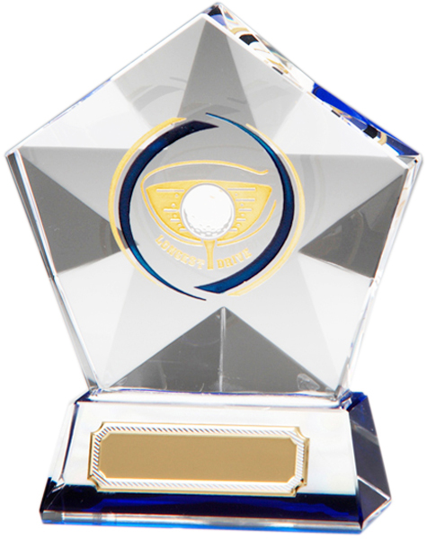 "Clear Diamond Star Longest Drive Glass Golf Award 9.5cm (3.75"")"