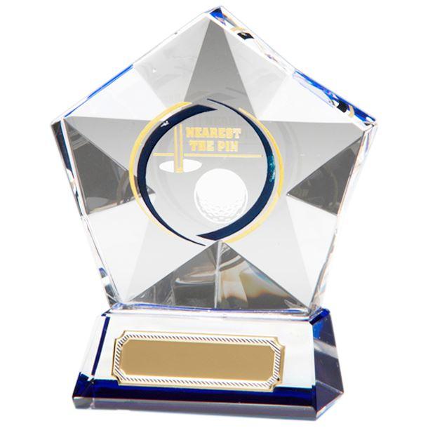 "Clear Diamond Star Nearest The Pin Glass Golf Award 9.5cm (3.75"")"