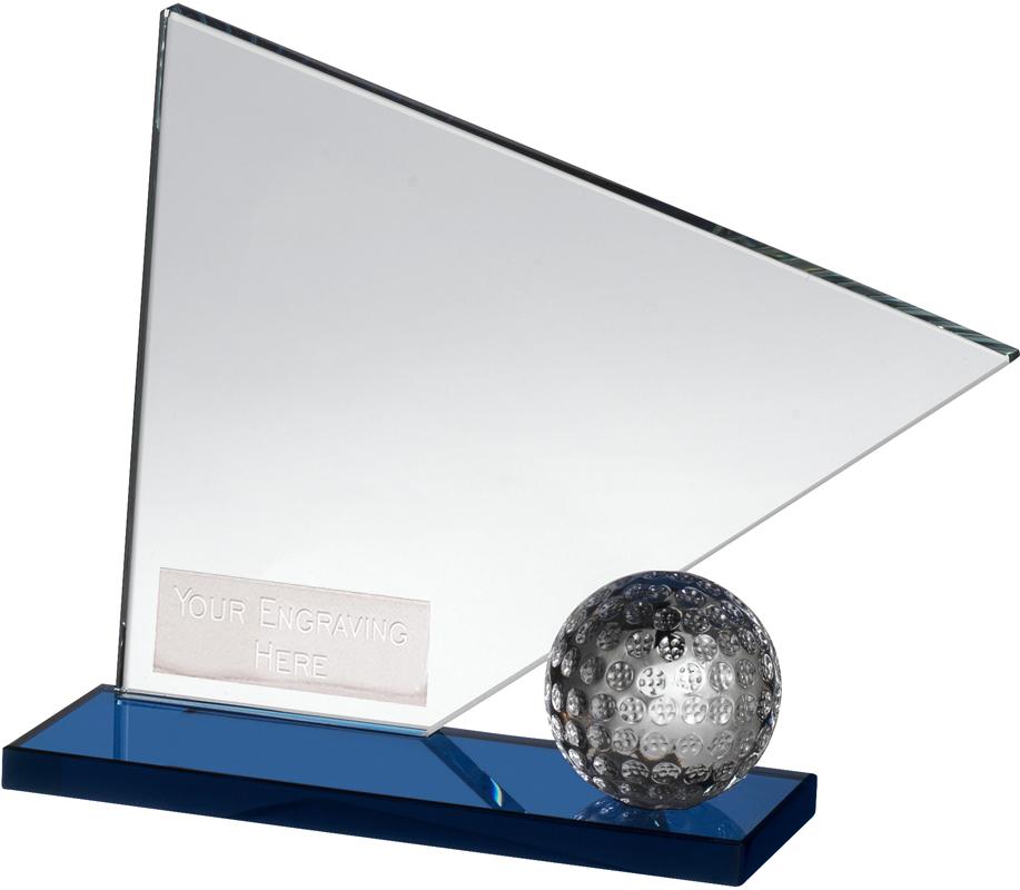"""Clear & Blue Crystal Golf Flag & Ball Award 12cm (4.75"""")"""