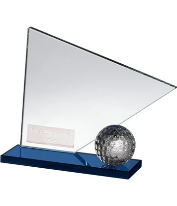 "Clear & Blue Crystal Golf Flag & Ball Award 12cm (4.75"")"