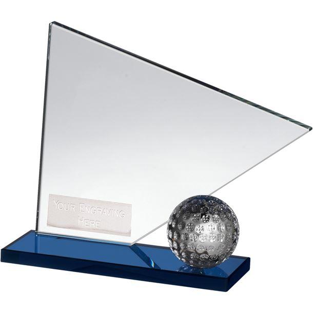 """Clear & Blue Crystal Golf Flag & Ball Award 14cm (5.5"""")"""