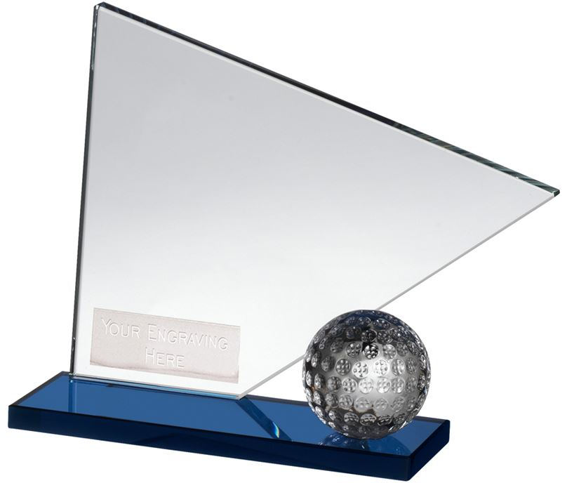 "Clear & Blue Crystal Golf Flag & Ball Award 14cm (5.5"")"