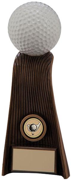 """Gold & White Resin Raptor Golf Ball Trophy 22cm (8.75"""")"""