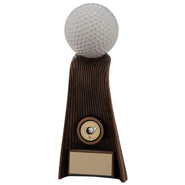 """Gold & White Resin Raptor Golf Ball Trophy 19cm (7.5"""")"""