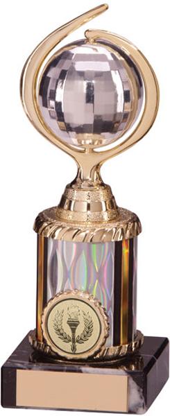 "Gold & Silver Plastic Glitterball Dance Trophy 17.5cm (6.75"")"