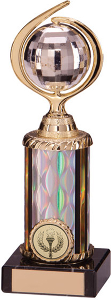 "Gold & Silver Plastic Glitterball Dance Trophy 20cm (7.75"")"