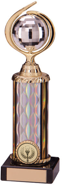 "Gold & Silver Plastic Glitterball Dance Trophy 22.5cm (8.75"")"
