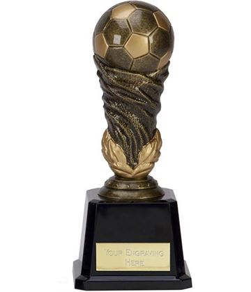 "Antique Gold Spiral Leaf Football Trophy 19cm (7.5"")"