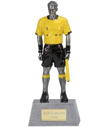 "Yellow & Black Resin Assistant Referee Football Trophy 22cm (8.75"")"