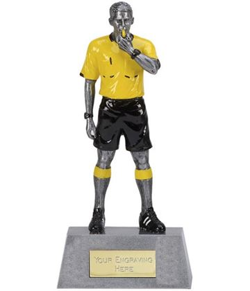 "Yellow & Black Resin Referee Football Trophy 22cm (8.75"")"