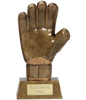 """Antique Gold Resin Goalkeeper Glove Trophy 22cm (8.75"""")"""