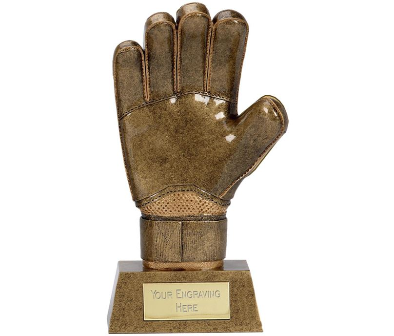 "Antique Gold Resin Goalkeeper Glove Trophy 22cm (8.75"")"