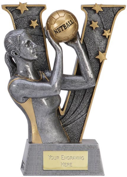 """Silver Resin Victory Netball Trophy 15cm (6"""")"""