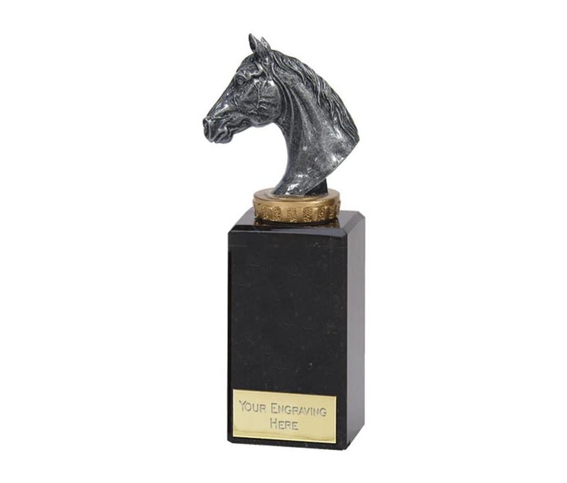 """Antique Silver Horse Trophy on Marble Base 18cm (7"""")"""