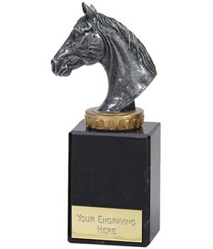 "Antique Silver Horse Trophy on Marble Base 15cm (6"")"