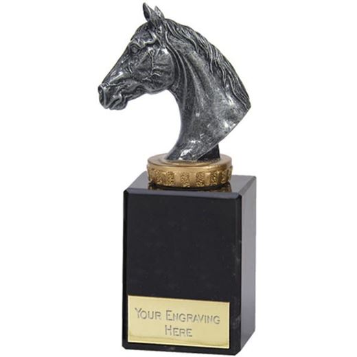 """Antique Silver Horse Trophy on Marble Base 15cm (6"""")"""