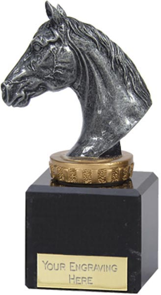 "Antique Silver Horse Trophy on Marble Base 12.5cm (5"")"