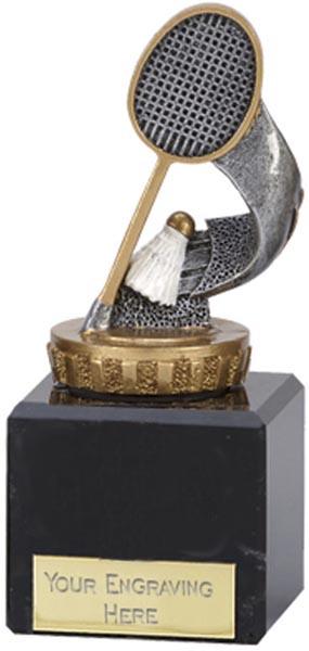 "Silver & Gold Badminton Trophy on Marble Base 12.5cm (5"")"