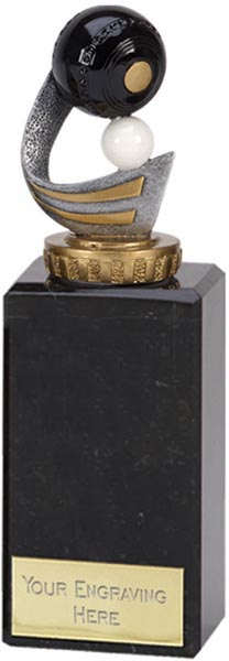"""Gold & Silver Plastic Lawn Bowls Trophy on Marble Base 18cm (7"""")"""