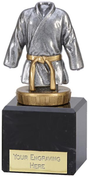 """Silver & Gold Plastic Martial Arts trophy on Marble Base 12.5cm (5"""")"""