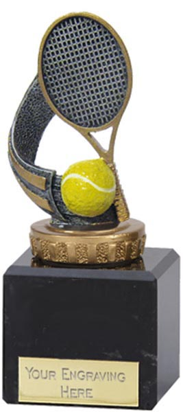 """Silver & Gold Tennis Racket Trophy on Marble Base 12.5cm (5"""")"""