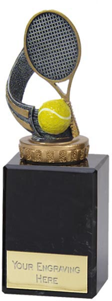 """Silver & Gold Tennis Racket Trophy on Marble Base 15cm (6"""")"""