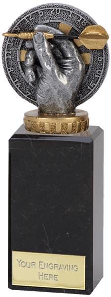 "Antique Silver Plastic Dart & Dartboard Trophy on Marble Base 18cm (7"")"