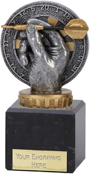 "Antique Silver Plastic Dart & Dartboard Trophy on Marble Base 12.5cm (5"")"