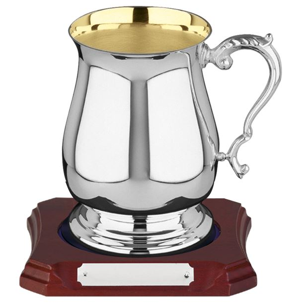 Hallmarked Sterling Silver & Gold Plated 1pt Tankard