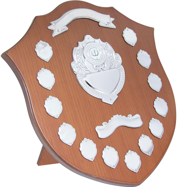 """Wooden Shield with Chrome Fronts 40.5cm (16"""")"""