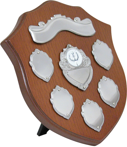"Wooden Shield with Chrome Fronts 20.5cm (8"")"