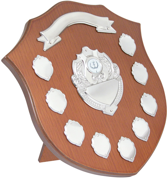 "Wooden Shield with Chrome Fronts 32cm (12.75"")"