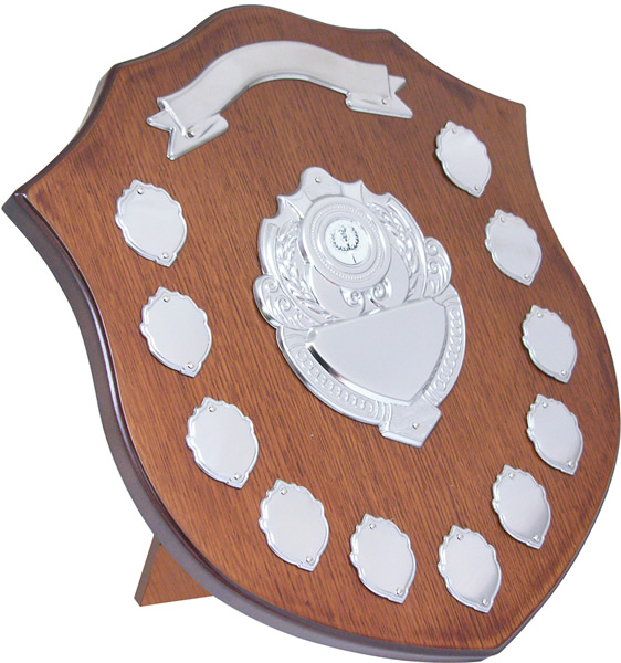"""Wooden Shield with Chrome Fronts 35.5cm (14"""")"""