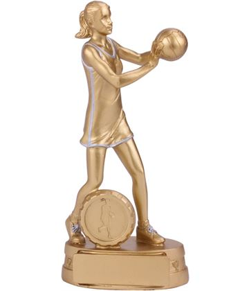 "Gold Resin Extreme Female Netball Figure Trophy 18.5cm (7.25"")"
