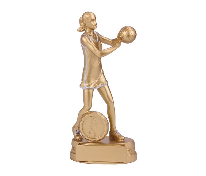 """Gold Resin Extreme Female Netball Figure Trophy 18.5cm (7.25"""")"""