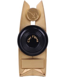 "Black & Gold Tribute Clay Pigeon Plaque Trophy 18.5cm (7.25"")"