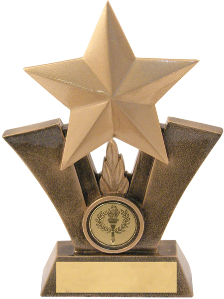 """Gold Resin Star Trophy with Centre Disc 16cm (6.25"""")"""