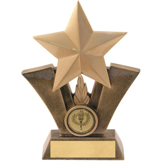 """Gold Resin Star Trophy with Centre Disc 12.5cm (5"""")"""