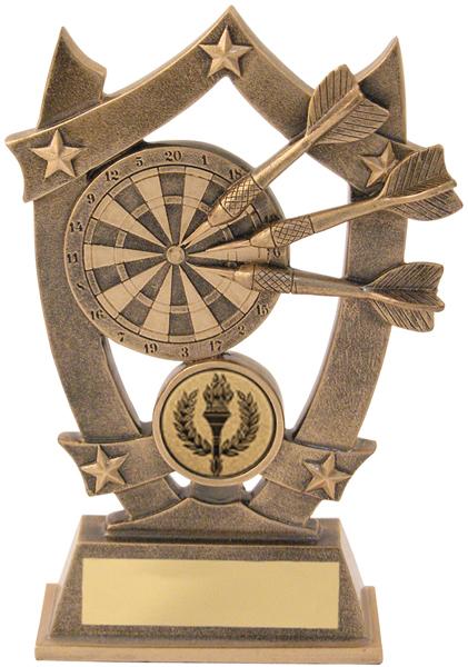 """Antique Gold Resin Darts 5-Star Trophy 14cm (5.5"""")"""